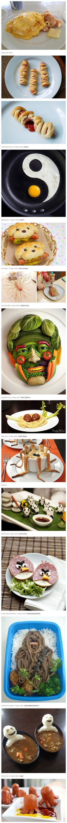 Cool and Creative Food Art Ideas. I teach the kids not to play with their food. But this is so cool