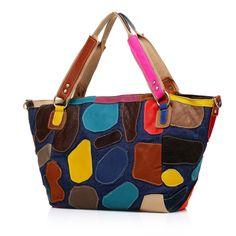 color leather handbag