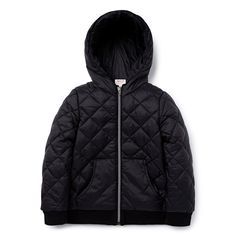 100% Nylon Jacket. Woven, hooded puffa jacket. Features all over quilted design, front pockets and zip closure. Regular fitting silhouette. Available in Black.