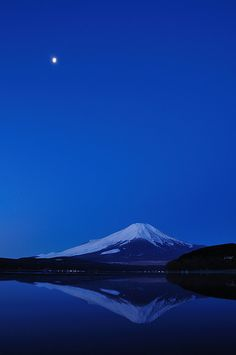 Mt. Fuji, Japan ~~ For more:  - ✯ http://www.pinterest.com/PinFantasy/color-~-azul-blue/