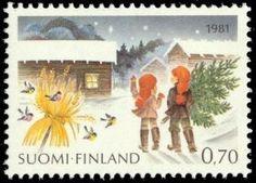 Christmas stamp, Finland, 1981 /  Joulupostimerkki 1981 Kuusenhaku