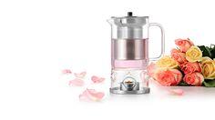 SAMADOYO Teekanne mit Teelicht und Stövchen. Das Stövchen ist fest mit der Teekanne verbunden. Das erleichtert das Einsetzen und Anzünden des Teelichts.