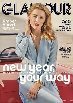 Amber Heard has been chosen as the cover girl for Glamour 's January issue, discussing her sexuality, activism and using her platform to help domestic abuse survivors in the candid new interview. V Magazine, Glamour Magazine, Magazine Covers, Marie Claire, Cosmopolitan, Vanity Fair, John Deep, Nylons, Glamour Mexico