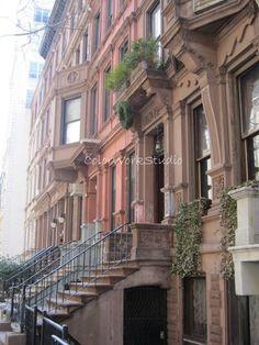 NYC Brownstones Photo Upper West Side Manhattan Fine Art Photography travel shabby cottage boho avant garde neighborhood. $25.00, via Etsy.