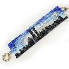 New York Lovers Bracelet Blue and Black Beads by dicopebisuteria