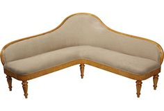 L Shaped Biedermeier Settee, I would put this in the corner of the room for a fabulous Banquette. I would upholster it in a linen with some color, but that's just me! Love!