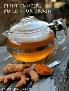 "Turmeric Tea: A Simple Base Start your day with this ""Golden Tea,"" while fighting cancer and building your brain at the same time (including key flavor options and a ""pro tip"") Posted by Amanda Rose in Antiques, Beverages, Most Popular, Recipes Herbal Remedies, Health Remedies, Natural Cures, Natural Health, Golden Tea, Golden Milk, Turmeric Tea, Turmeric For Cancer, Fresh Tumeric Tea"