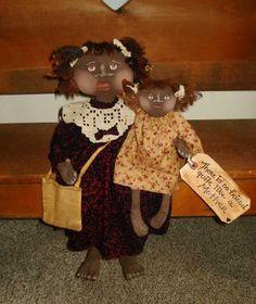 Primitive DOLL PATTERN Black Mom 16 Inch, Black Baby Girl 9 inch, Raggedydays 171 My Mother My Friend NEW  $10.50