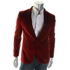 HUGO-BOSS-NEW-Red-Velveteen-Contrast-Trim-Notch-Collar-Sportcoat-Blazer-40R-BHFO