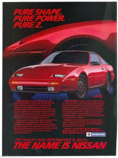 1987 NISSAN 300 ZX advertisement, Nissan 300ZX, red sports car