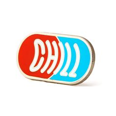 "Chill out - Silver pin with colored enamel - Rubber backing - Measures 1.25"" wide"