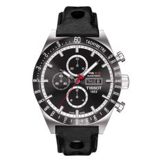 Tissot PRS 516 Automatic Chrono Men s Black Dial Watch with Black Leather  Strap 10a1ebf193