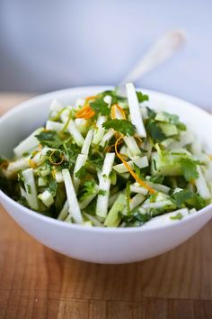 A refreshing summery Kohlrabi Salad with cilantro and lime. Vegan and Gluten free, this flavorful salad make a healthy flavorful side dish.
