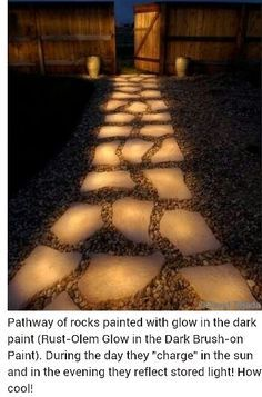 DIY glow stones-auto lights for the walkway! Outdoor Spaces, Outdoor Living, Outdoor Decor, Outdoor Stuff, Outdoor Ideas, Outdoor Paint, Outdoor Seating, Patio Paint, Magic Garden