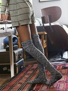 Pioneer Thigh High | Soft and cozy cable-knit thigh highs with ribbed trims. *By Free People