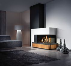 modern electric corner fireplace - Google Search