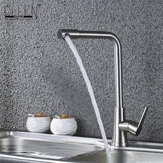 Kitchen Sink Faucet Stainless Steel 360 Degree Turn Spray Brush Nickel Kitchen Mixer Water Tap Hot and Cold ELS404 #Affiliate
