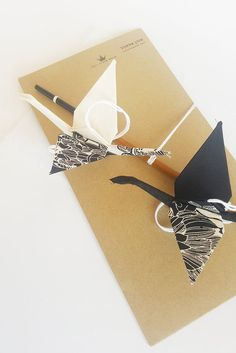 Black and White crane mobile, fabric origami mobile wedding gift / decoration.  Hand made by Moranalhalel.com Wedding Anniversary Gifts, Wedding Gifts, Crane Mobile, Origami Mobile, Origami Swan, White Crane, Fabric Origami, Hanging Mobile, Origami Design