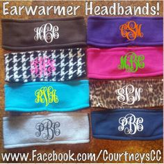 Monogrammed earwarmer headbands! We have tons of other unique and fully customizable items! Check out www.Facebook.com/CourtneysCC. We monogram all kinds of apparel & accessories! Group discounts available! Personalized items are prefect for weddings, school spirit, sorority & special occasions. www.Instagram.com/CourtneysCC