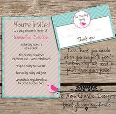 Printable Baby Shower Invitation & Free Thank You Card by TeAmoCharlie, $14.00 #teamocharlie #free #printable #chevron #baby #babyshower #partyinvitation #invitation #invite #shower