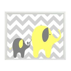Elephant Chevron Nursery Wall Art Print Yellow Gray Decor Mother Baby Children Kid Room Wall Art Home Decor 8x10 Print found on Polyvore featuring polyvore