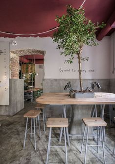 Image 9 of 17 from gallery of OMNOMNOM Vegan Cafe / replus design bureau. Photograph by Dmytro Sorokevych Table Cafe, Cafe Chairs, Dining Chairs, Cafe Bar, Restaurant Seating, Cafe Restaurant, Modern Restaurant, Restaurant Interior Design, Shop Interior Design
