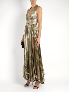 Click here to buy Maria Lucia Hohan Adina deep V-neck pleated lamé gown at MATCHESFASHION.COM