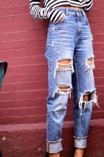 High Waist Distressed Boyfriend Jeans ALL SIZES by EverRad - - High Waist Distressed Boyfriend Jeans ALL SIZES by EverRad minimalist fashion casual fashion jeans skinny jeans ripped jeans. Outfit Jeans, Outfit Chic, Lässigen Jeans, Cute Jeans, Ripped Mom Jeans, 90s Jeans, Distressed Jeans Outfit, High Waisted Distressed Jeans, Jacket Jeans