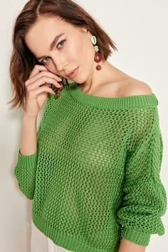Brand Name: Trendyol Gender: Women Hand Knitted Sweaters, Cotton Sweater, Green Cotton, Summer Colors, Trends, Summer Vibes, Favorite Color, Hand Knitting, Knitwear