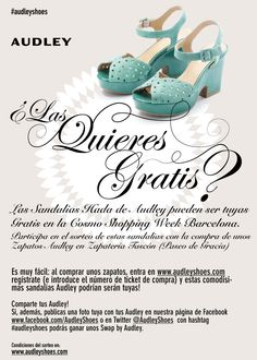 Audley Shoes participates in the best week of the year for shopping thanks to Tascon Zapaterías and Cosmopolitan and the city of Barcelona. From 27 May and for a week, you can enjoy the funniest shopping, and Audley wants to be part of this entertainment.
