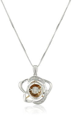 Sterling Silver and 10k Rose Gold Dancing Diamond Star Pendant Necklace (1/10 cttw, J-K Color, I2-I3 Clarity). Sterling silver box-chain necklace featuring two-tone star pendant with round-cut diamonds in shared-prong settings. Spring-ring clasp. Imported. Carat weight listed is the total for all stones. All our diamond suppliers confirm that they comply with the Kimberley Process to ensure that their diamonds are conflict free.