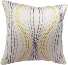 This Taupe, Gold, Cream Embroidered Dot Strands Decorative Pillow Cover is a Stunning Modern Accent Pillow, that Features Vertical Embroidered Dot / Polka Dot Strands in Geometric Ogee Shapes, that Provide a Flowing Raindrop Like Effect.   The Dot Strand Colors Include Gold, Taupe, Yellow, Cream and Grey, Against a Cream Background, with the Same Fabric on Both Sides