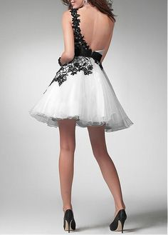 Deep One Shoulder A-line Short Mini Circle Black White Special Occasion Dresses
