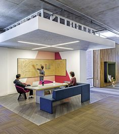 Plywood Dry Erase Board - Cisco offices by Studio O+A features wooden meeting pavilions