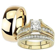 Her and His 14K G.P. Stainless Steel 3pc Wedding Engagement Ring and Men's Band Set >>> Continue to the product at the image link.