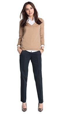 Esprit - Pantalon en coton stretch satiné 79,99 €