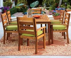 """Cumberland Seven-Piece Dining Set  Enhance Your Patio Gatherings  $999  Table: 29.5""""H x 70""""W x 38""""D"""