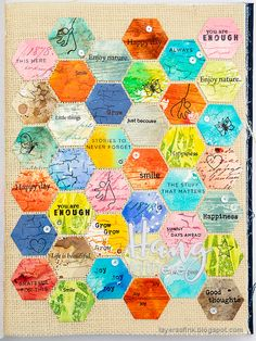 Layers of ink - Honeycomb Patchwork Tutorial by Anna-Karin Evaldsson. Made with Simon Says Stamp dies and stamps. Hexagon Cards, Hexagon Tiles, Design Tape, Patchwork Tutorial, Simon Says Stamp Blog, Miss You Cards, Glitter Letters, Honeycomb Pattern, Artist Trading Cards