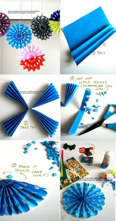 Diy Decoracion Fiestas Paper Fans New Ideas Paper Rosettes, Paper Flowers Diy, Flower Crafts, Diy Paper, Paper Crafts, Tissue Paper Decorations, How To Make Decorations, Diy Party Decorations, Christmas Decorations