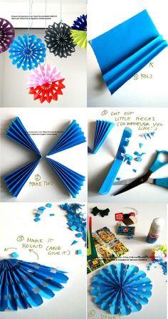 Diy Decoracion Fiestas Paper Fans New Ideas Paper Rosettes, Paper Flowers Diy, Flower Crafts, Diy Paper, Paper Crafts, Diy Crafts, Tissue Paper Decorations, Diy Party Decorations, Christmas Decorations