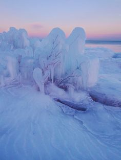 Ice pink blue winter sunset at Stoney Point on Lake Superior, MN. It really is this beautiful almost every evening. #Minnesota #Sunset