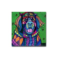 Leonberger Leo Dog art Tile Ceramic Coaster Mexican Folk Art Print of painting by Heather Galler Dog
