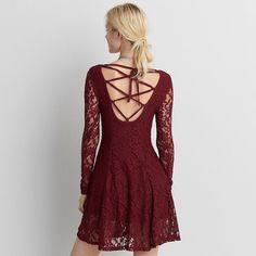 AE Lace-Up Back Dress ($30) ❤ liked on Polyvore featuring dresses, red, lace up front dress, long sleeve lace dress, lace front dress, lace fit-and-flare dresses and long-sleeve fit and flare dresses