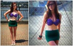 Hipster Ariel for HALLOWEEN! how to make the ariel little mermaid bra