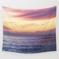 Pink Sunset over Carmel Beach Wall Tapestry by Arlene Carley . Worldwide shipping available at Society6.com. Just one of millions of high quality products available.