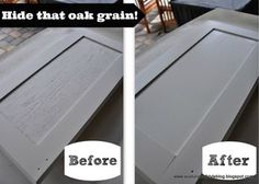 How to hide the oak grain when painting your kitchen cabinets