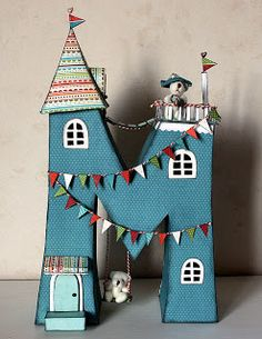 Faux metal signs craft could become little houses too. Crafts To Make, Crafts For Kids, Arts And Crafts, Diy Crafts, Decoupage, Wood Letters, Monogram Letters, Paper Art, Paper Crafts