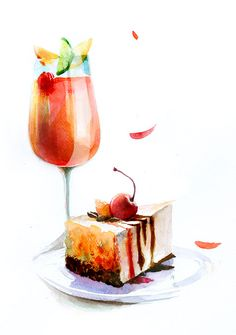 Drink and cake Dessert Drinks, Dessert Recipes, Desserts, Watercolor Food, Watercolor Paintings, Watercolour, Dessert Illustration, Food Painting, Pastry Art