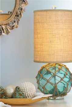 Furniture, Round And Blue Elegant Beach Themend Lamps That Look So Beautiful And…