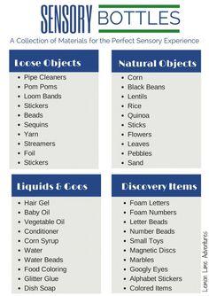 Sensory Bottle Materials List - 40 ideas for sensory bottle fillers Sensory Bags, Sensory Table, Sensory Activities, Infant Activities, Preschool Activities, Sensory Bottles For Toddlers, Baby Sensory Bottles, Sensory Bottles Preschool, Sensory Rooms